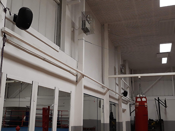 Black Install Speakers on wall of Gym Nottingham