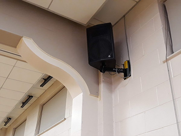 Black passive wall mounted install speaker Shree Pajapati Association Community Centre, Leicester