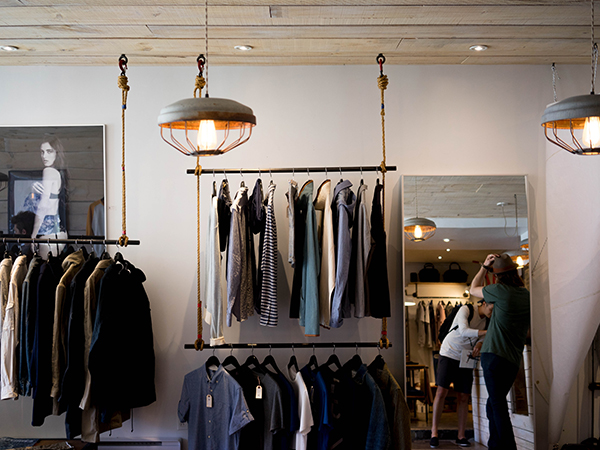 clothing shop with lighting and speaker system installation