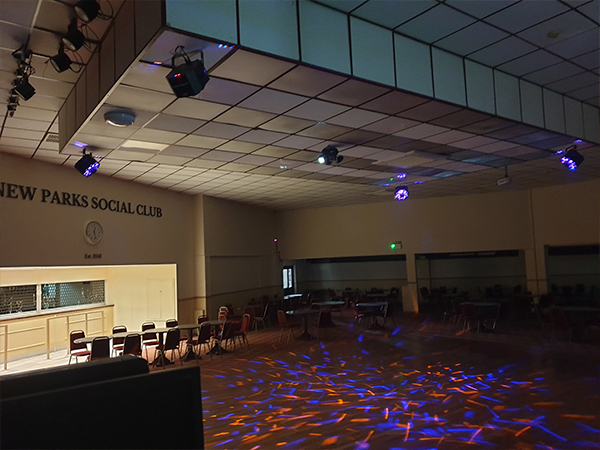 Lighting Effects covering the dancefloor after audio visual installation leicester