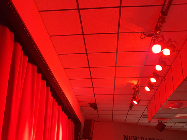 Red lighting effects from audio visual install