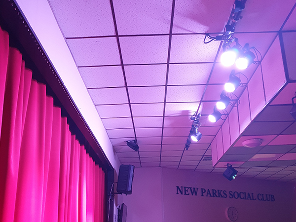 purple lighting effects installed with pa seaker sound system
