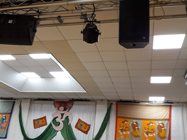 Lighting and speakers on trussing Shree Pajapati Association Community Centre, Leicester