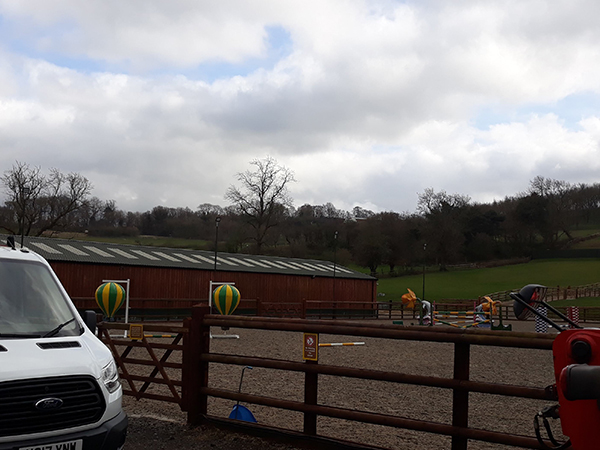 Outdoor loudspeakers audio installed for a horse riding school