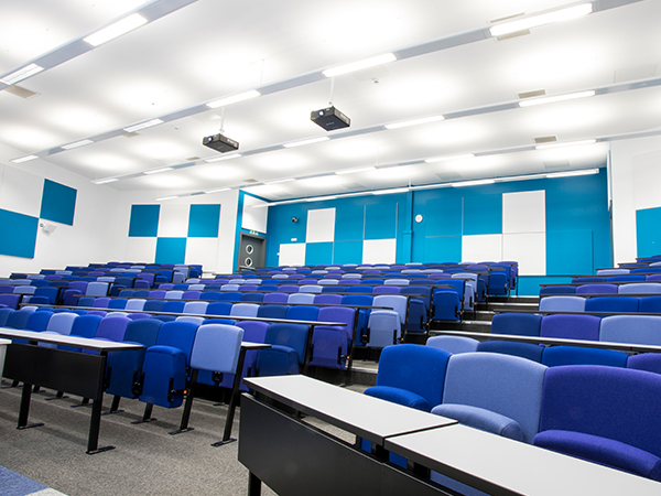 Projectors int he ceiling av installation for classroom at college and sound system