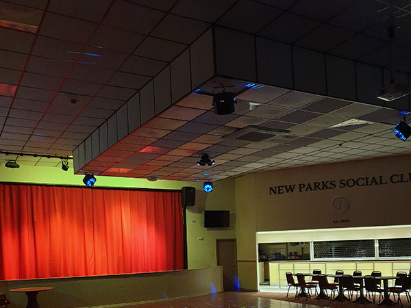 stage and social club leicester with audio visual pa system installed