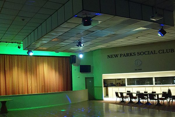 the stage in social club leicester after a full music gear installation