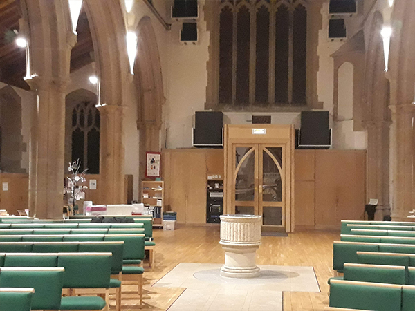 Speaker System AV Installation entrance to church