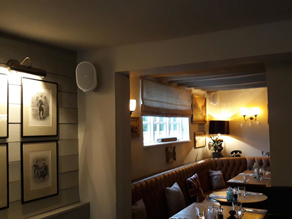 White Install Wall Braket LoudSpeaker part of sound system install in bar and pub