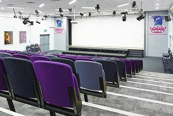 Stage for a school in leicester has lighting and speaker system installed for learning