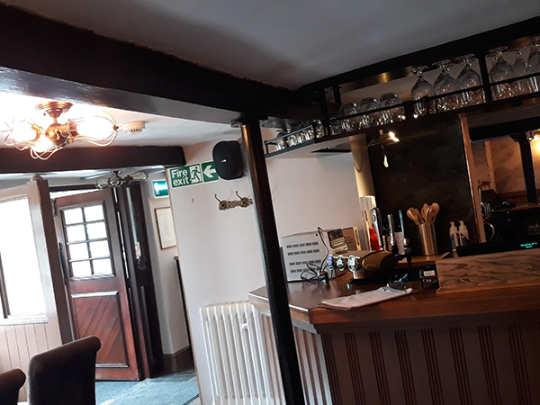 black loudspeaker installation in the bar