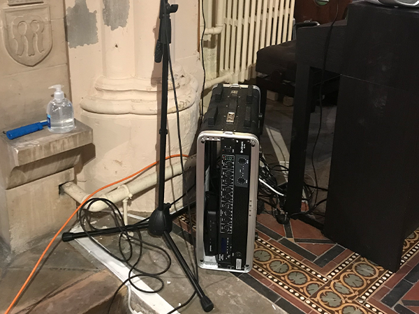 Portable power amp used around a church in doncaster during an av installation