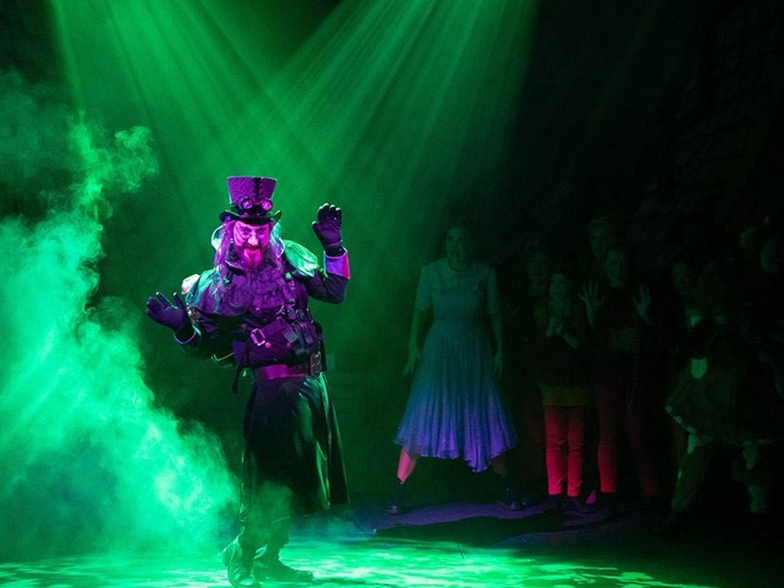 Green stage lighting that has been installed for a theatre performance
