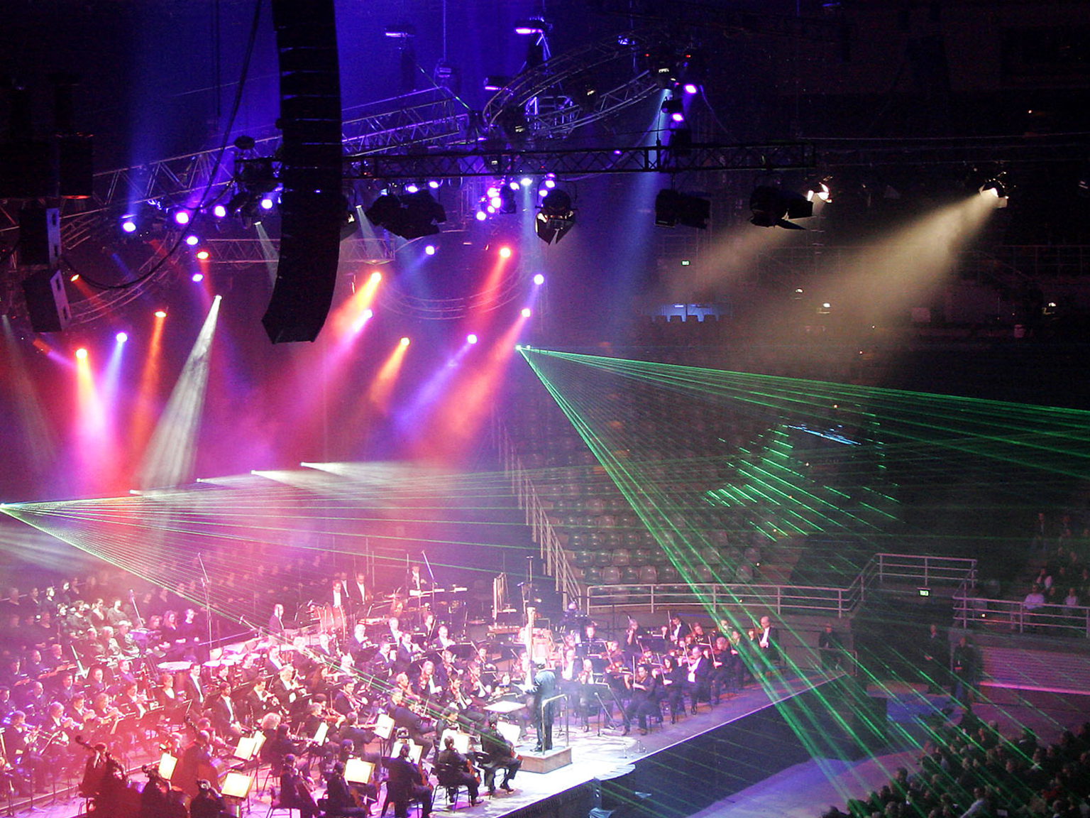 Impressive led stage lighting sequence for n orchestra on stage