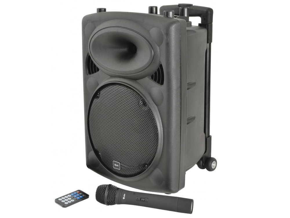 QTX QR10PABT Compact 10 100W Powered Portable PA Speaker with Bluetooth & Wireless Handheld Microphone