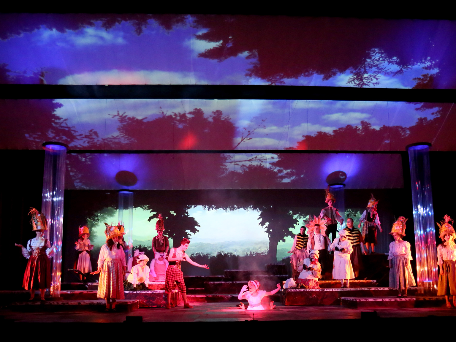 School theatre play with stage lighting installed