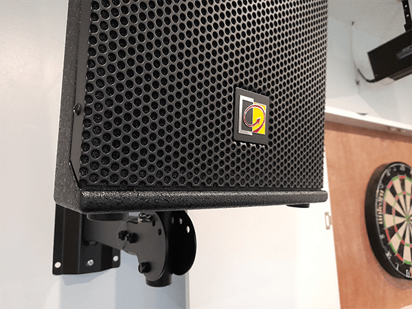 Black Wall mounted Speaker PA Sound System installation in a cricket sports club