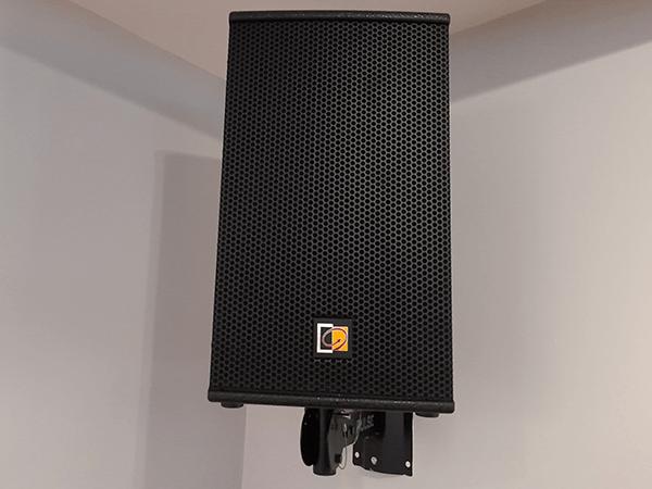 Black Speaker PA Sound System installation in a cricket sports club